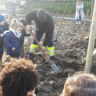Les enfants des écoles du quartier ont planté des chênes sur le site de l''étang de Robien
