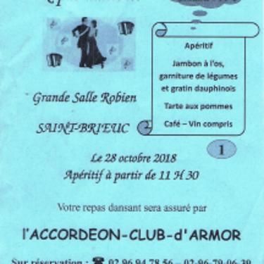 Repas dansant de l''accordéon club le 28 octobre à partir de 11h30