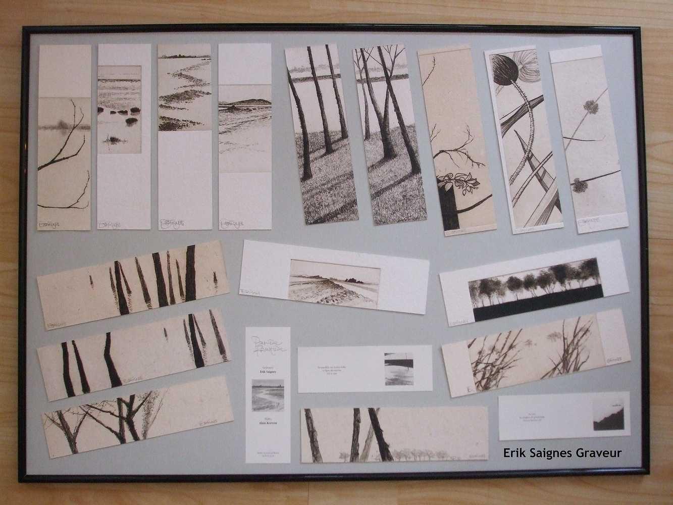 """Le cadre de marque-pages gravés par Erik Saignes, Atelier """"Le grain de résine""""."""
