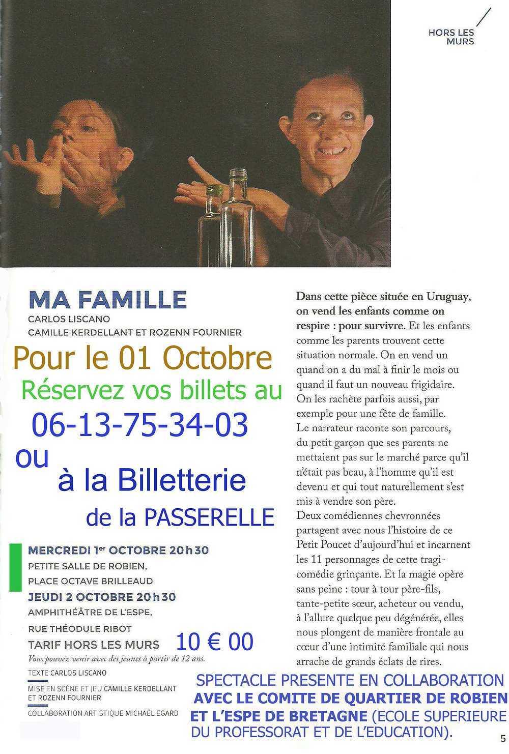 ''''Ma famille'''', spectacle proposé par la passerelle en collaboration avec le CAR, le 1er octobre, petite salle de Robien 0