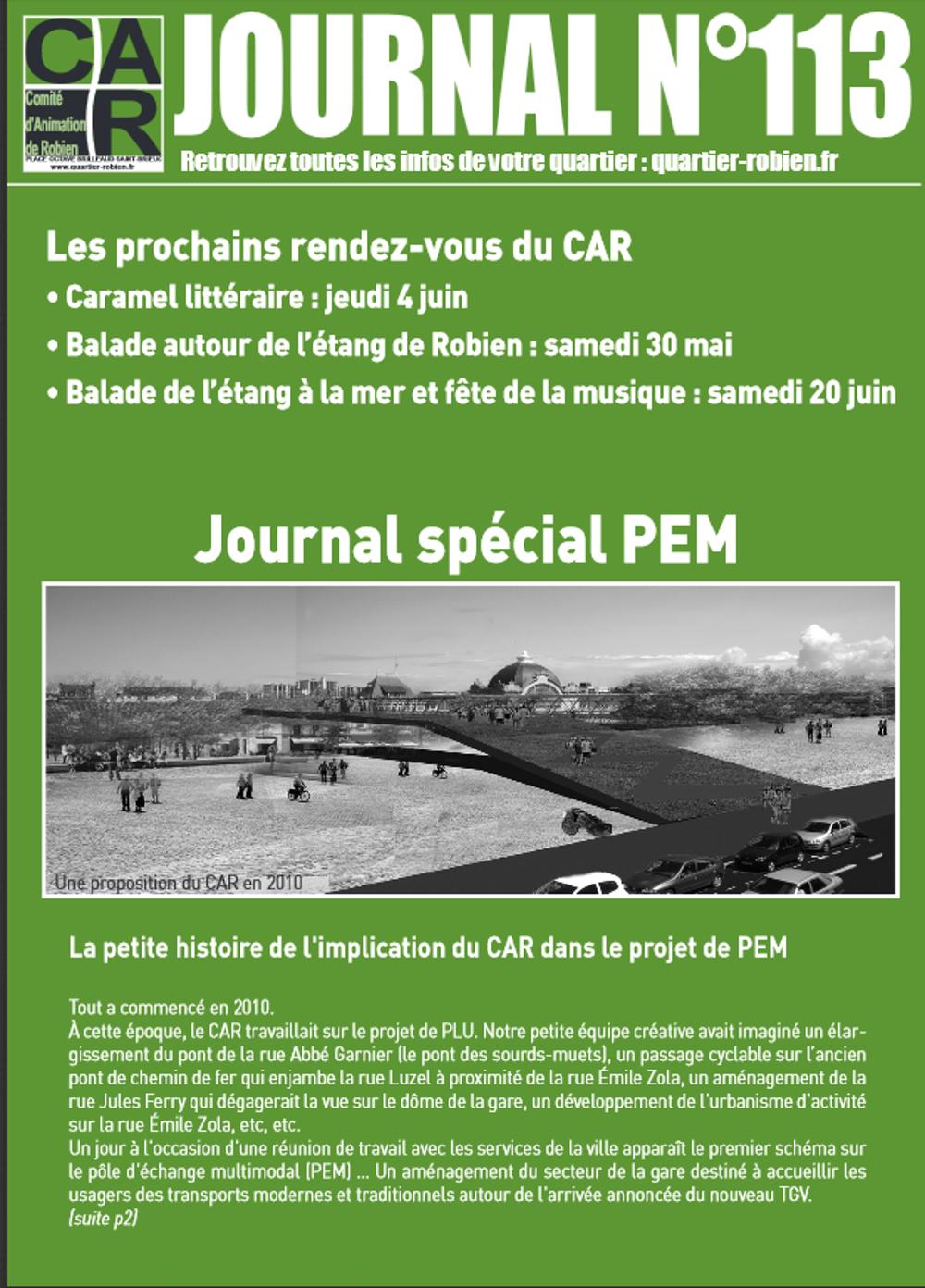 Le journal du CAR n°113 spécial PEM est en ligne 0