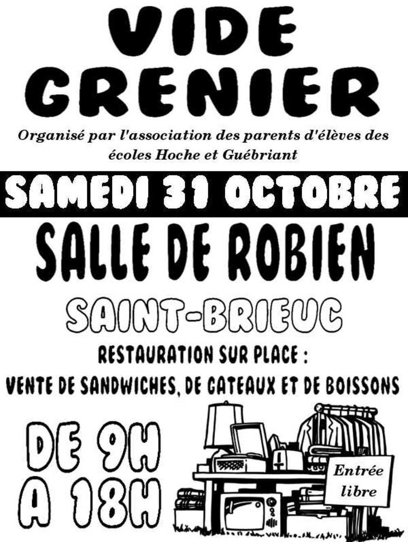 Vide grenier des écoles Hoche et Guébriand le 31 octobre, salle de Robien affiche2015