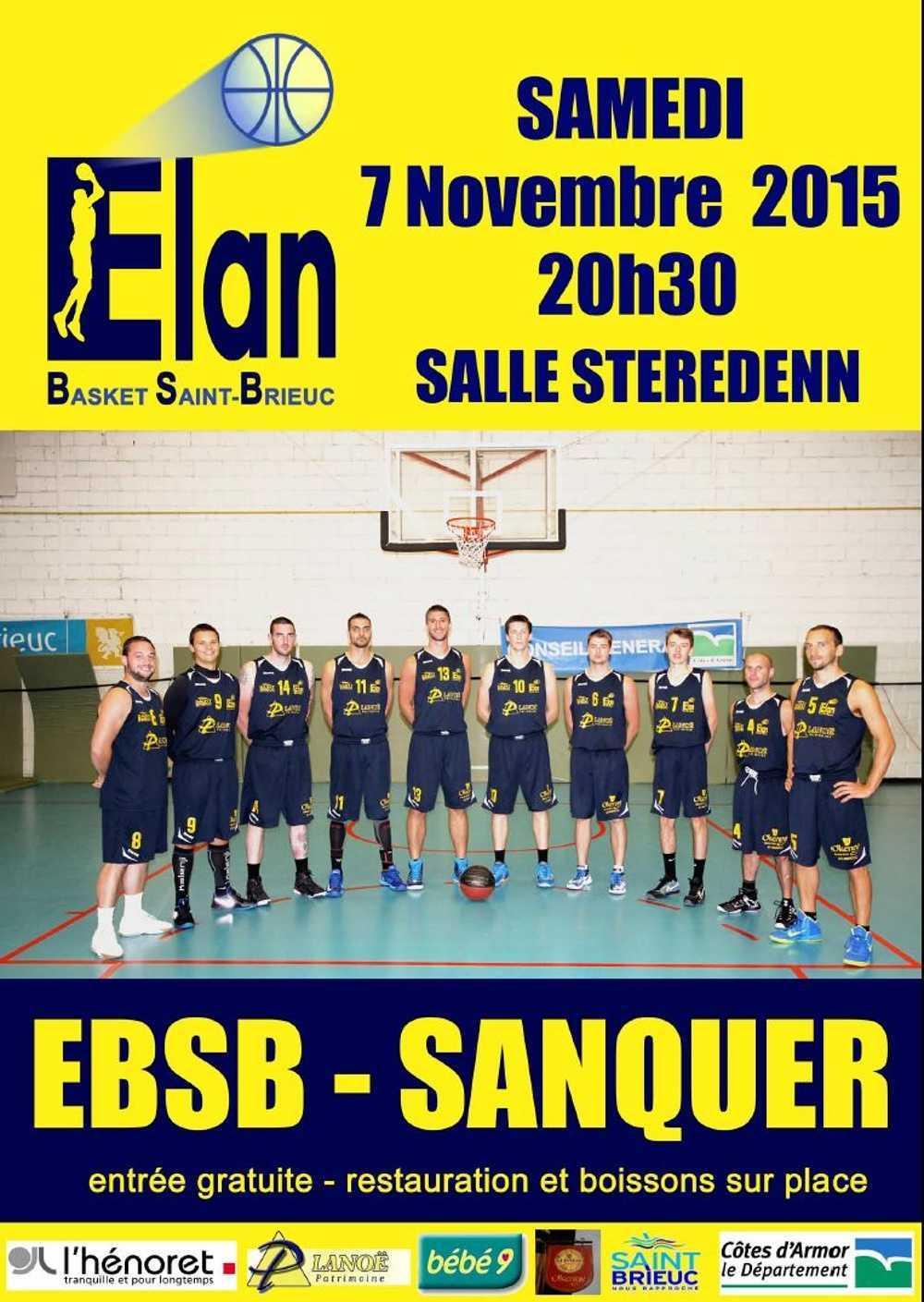 L''Elan Basket rencontre Sanquer le 7 novembre à 20h30, salle Steredenn 0