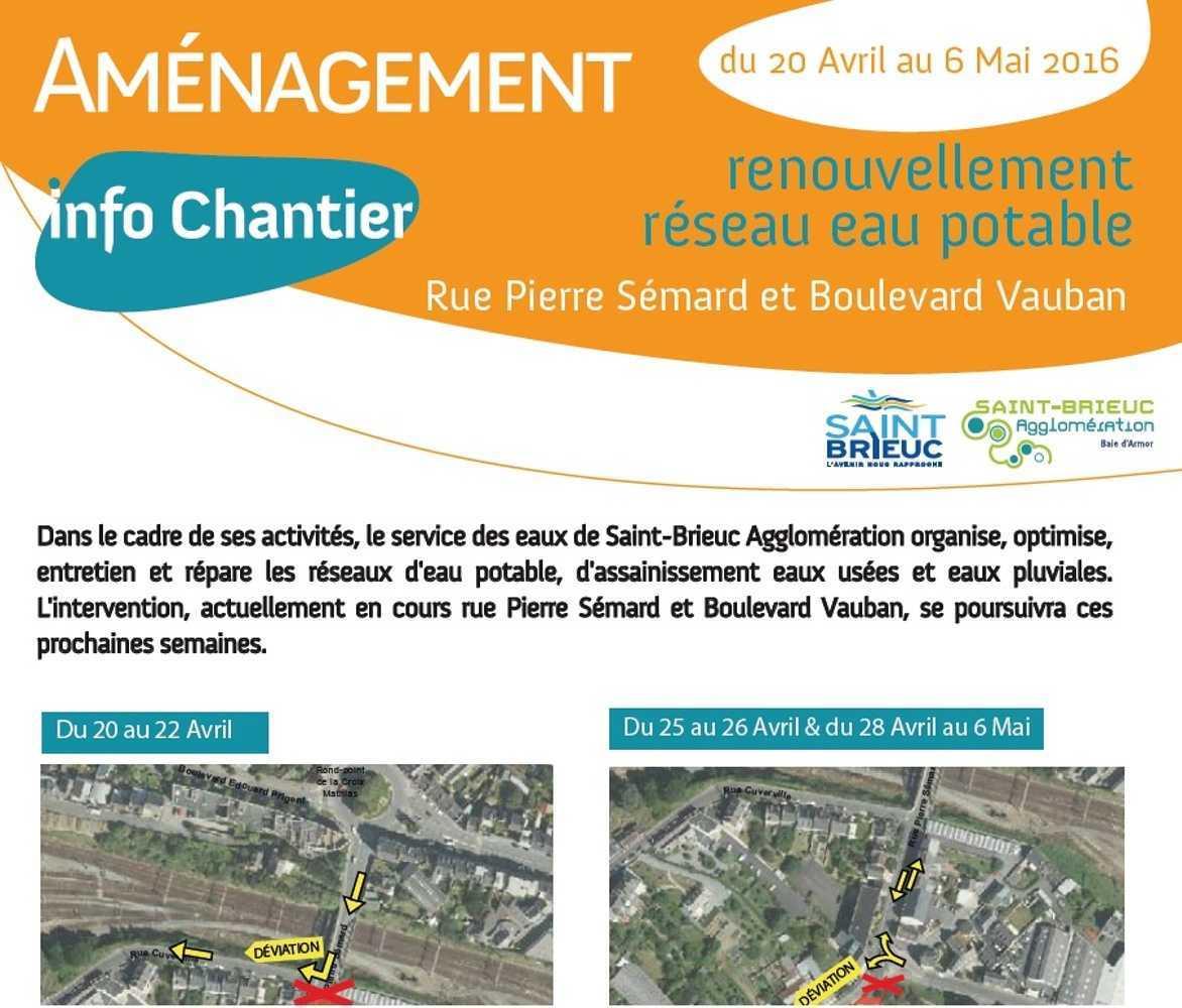 Information sur la poursuite des travaux actuellement en cours rue Pierre Sémard et boulevard Vauban 0