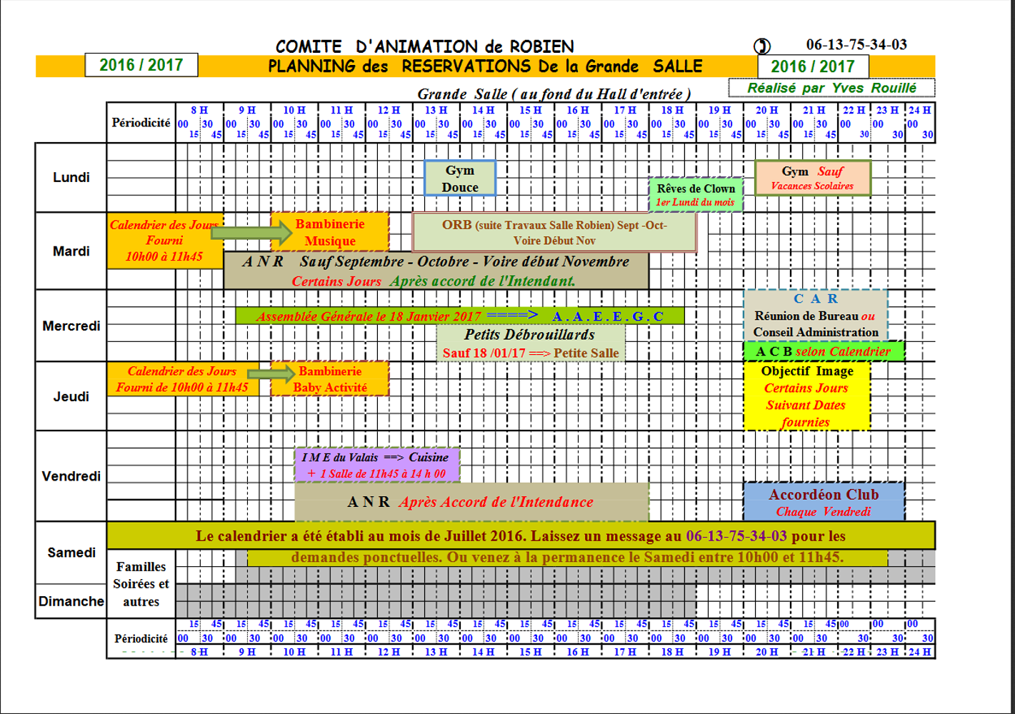 Planning d''occupation des salles de la maison de quartier : septembre 2016-juillet 2017 0