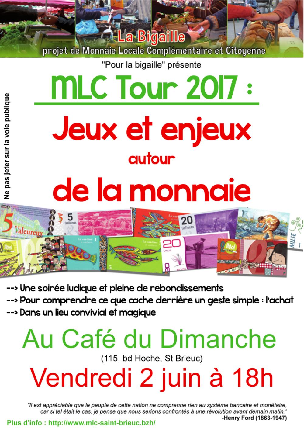 Jeux et enjeux autour de la monnaie : 2 juin, 18h au Café du Dimanche affichemlctourbdef