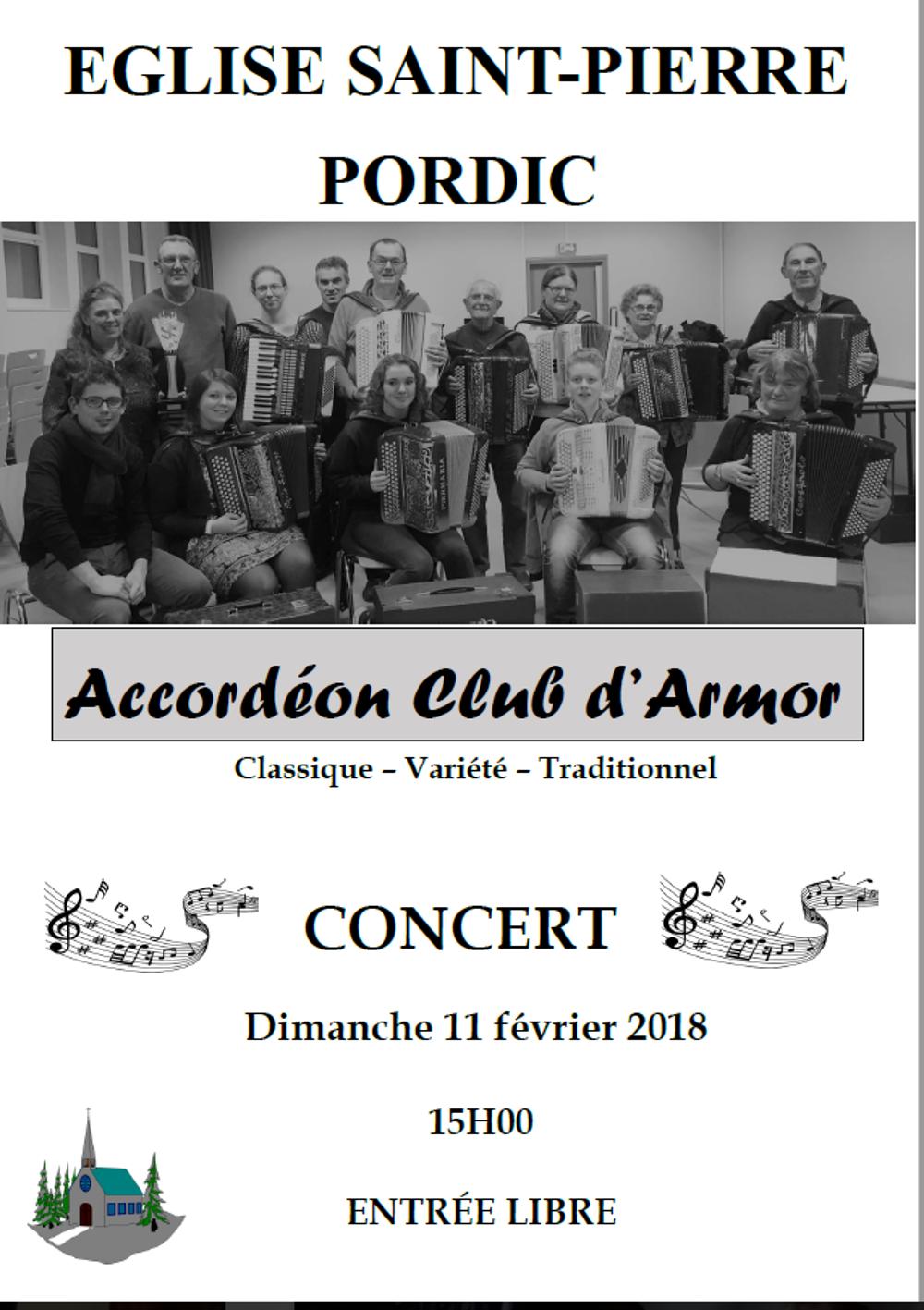 Concert de l''accordéon club d''Armor le 11 février à 15h à Pordic accordeon