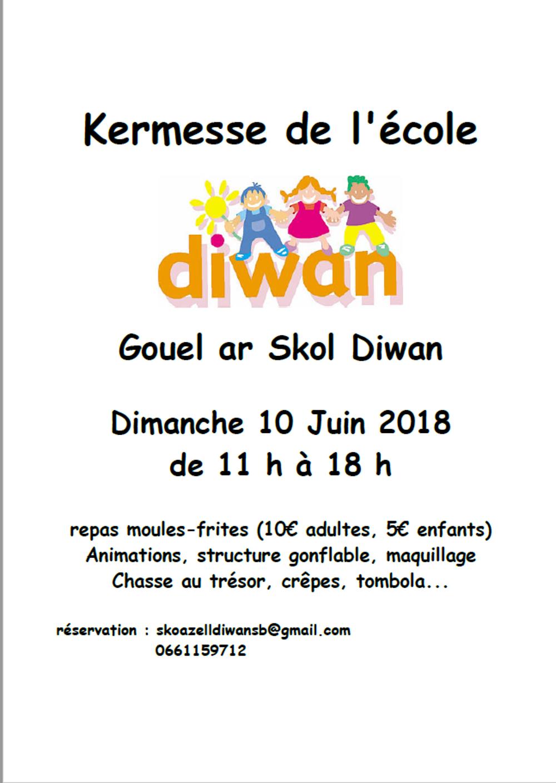 Kermesse de l''école Diwan, dimanche 10 juin. diwan