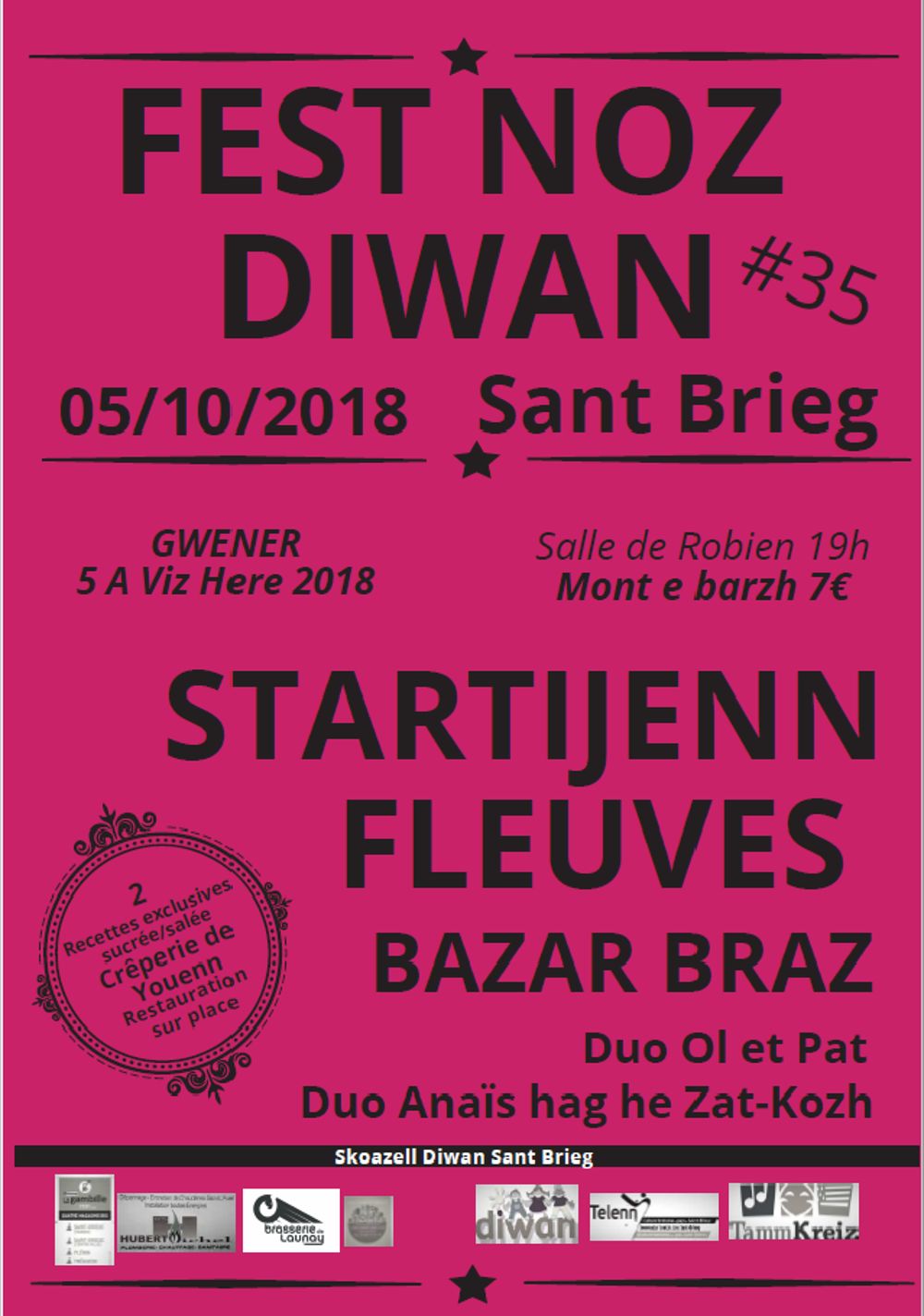 Fest Noz Diwan le 5 octobre 2018, 19h, grande salle de Robien 0