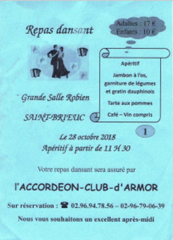 Repas dansant de l''accordéon club le 28 octobre à partir de 11h30 0