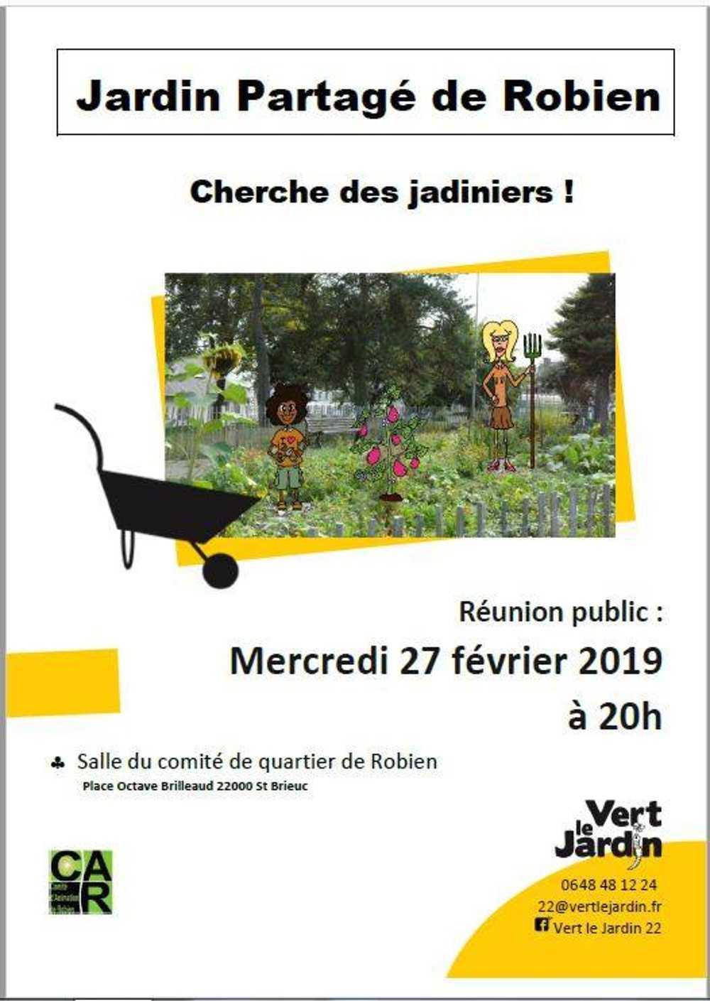 Remobilisation au jardin partagé de Robien. Réunion publique le 27 février à 20h 0