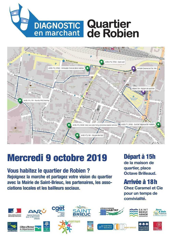 Diagnostic en marchant, quartier Robien, organisé par la ville de St Brieuc, Mercredi 9 octobre 2019, départ 15h 0